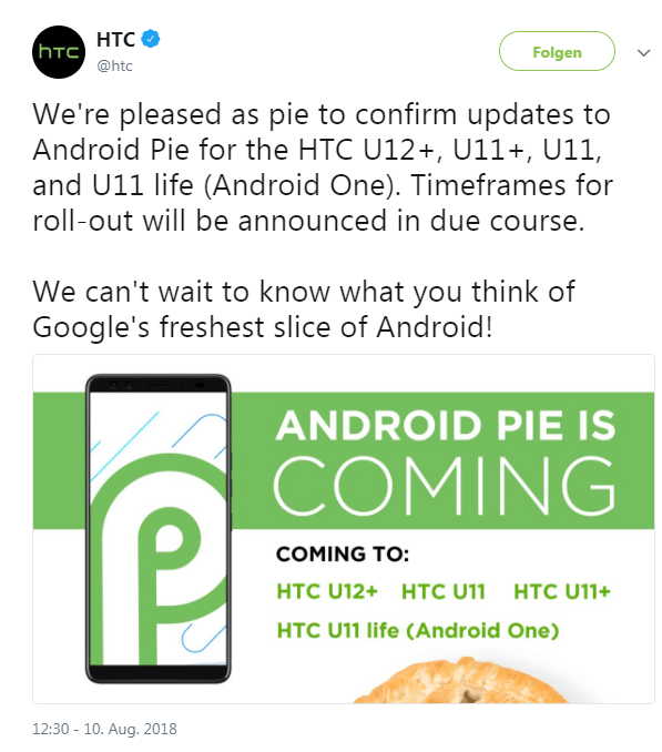 Android 9.0 Update HTC Twitter