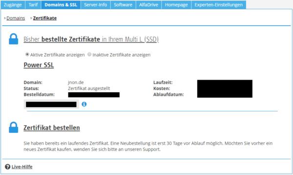 SSL-Zertifikat Hoster