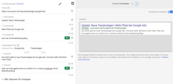 Neue Textanzeigen Google Ads 3. Anzeigentitel 2. Textzeile