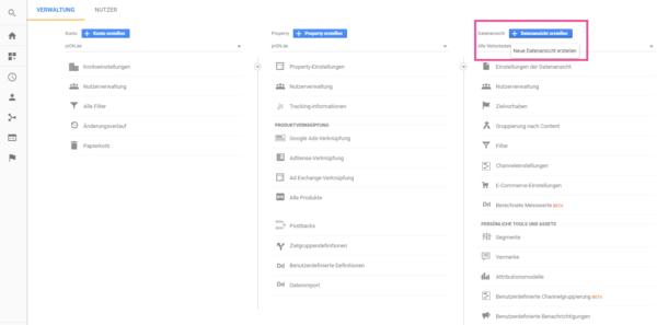 not provided Datenansicht erstellen Google Analytics
