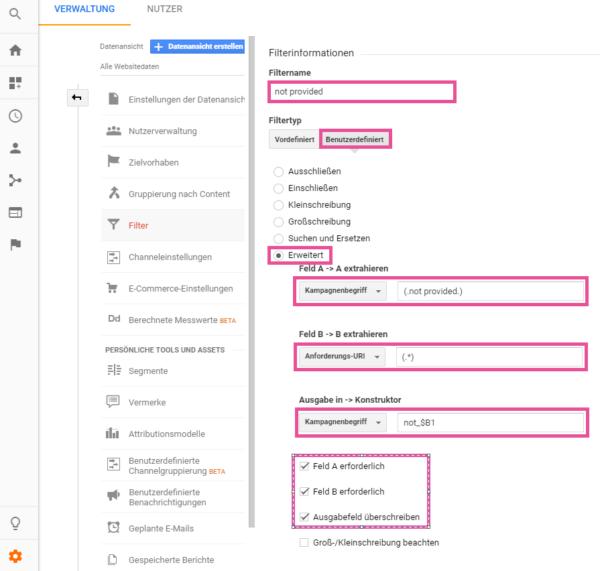not provided Filter einstellen Google Analytics