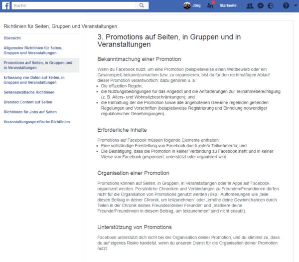 Richtlinien Facebook-Gewinnspiele