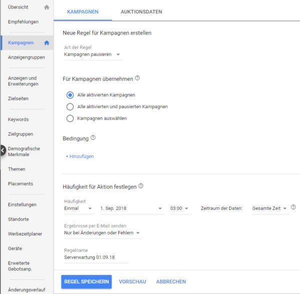 Serverausfall Automatische Regel Google Ads